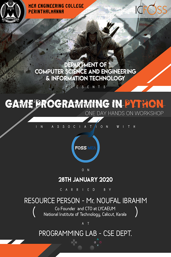 "One Day Hands on workshop on ""GAME PROGRAMMING IN PYTHON"""
