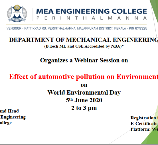 """Webinar Session on """"Effect of automotive pollution on Environment"""" on  World Environmental Day, 5th June 2020, Time: 2 to 3 pm"""