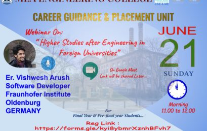 Webinar : Higher Studies after Engineering in Foreign Universities | 21st June, 2020,  Time 11.00 AM to 12.00 PM.