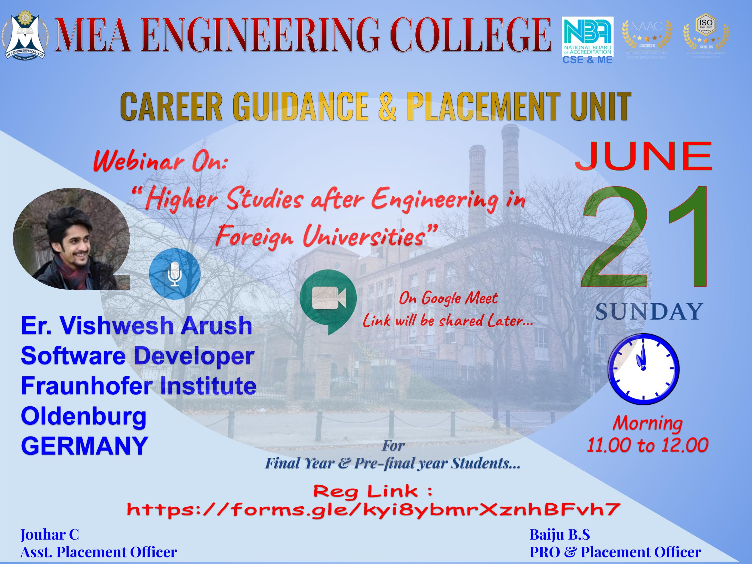 Webinar :- Higher Studies after Engineering in Foreign Universities