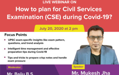 """Webinar on """"How to plan for Civil Services Examination during Covid-19? """""""