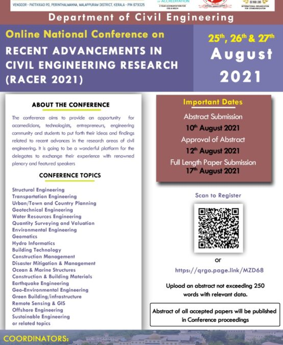 Recent Advancements in Civil Engineering Research – 2021 (RACER'21)